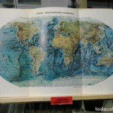Cartes géographiques contemporaines: LMV - MAPA DE LA TIERRA, PROFUNDIDADES OCEÁNICAS. 45X24 CM. Lote 192780060