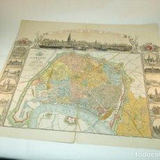 Mapas contemporâneos: TREMENDA LITOGRAFÍA DEL PLANO DE LA CIUDAD DE AMBERES. POR MARTIN GHYS. 1886. 64 X 73 CM.. Lote 192956138
