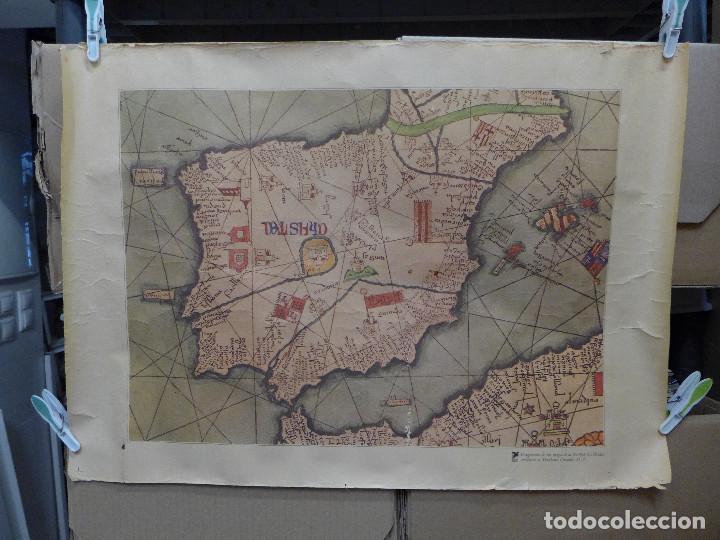 FRAGMENTO DE UN MAPA DE LA EUROPA OCCIDENTAL ATRIBUIDO A ABRAHAM CRESQUES EN 1375 EDITADO POR SALVAT (Coleccionismo - Mapas - Mapas actuales (desde siglo XIX))