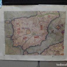 Mapas contemporáneos: FRAGMENTO DE UN MAPA DE LA EUROPA OCCIDENTAL ATRIBUIDO A ABRAHAM CRESQUES EN 1375 EDITADO POR SALVAT. Lote 194157143