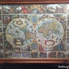 Mapas contemporáneos: GRAN MAPA MUNDI EN COLOR GRAN TAMAÑO Y MUCHOS DETALLES ENMARCADO. Lote 194196862