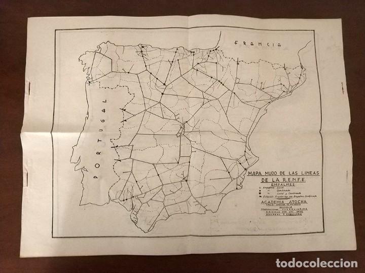 6 ANTIGUOS MAPAS MUDO DE LINEAS RENFE PREPARACIONES FERROVIARIAS ACADEMIA ATOCHA - TREN (Coleccionismo - Mapas - Mapas actuales (desde siglo XIX))