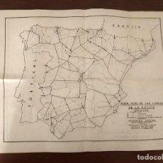 Mapas contemporáneos: 6 ANTIGUOS MAPAS MUDO DE LINEAS RENFE PREPARACIONES FERROVIARIAS ACADEMIA ATOCHA - TREN. Lote 194210463