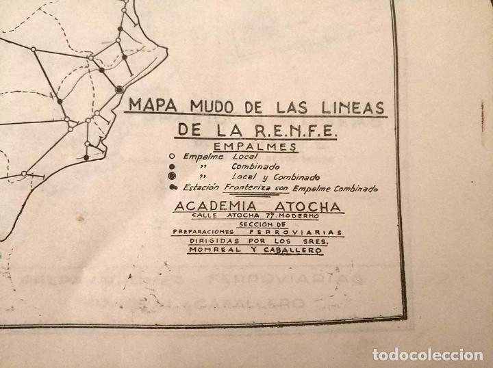 Mapas contemporáneos: 6 Antiguos mapas mudo de lineas RENFE preparaciones ferroviarias academia Atocha - tren - Foto 2 - 194210463
