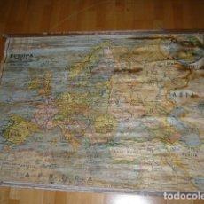 Mapas contemporáneos: ANTIGUO MAPA ESCOLAR PAPEL SOBRE TELA EUROPA ESTADOS, FERROCARRILES Y LINEAS DE NAVEGACION. Lote 194218670