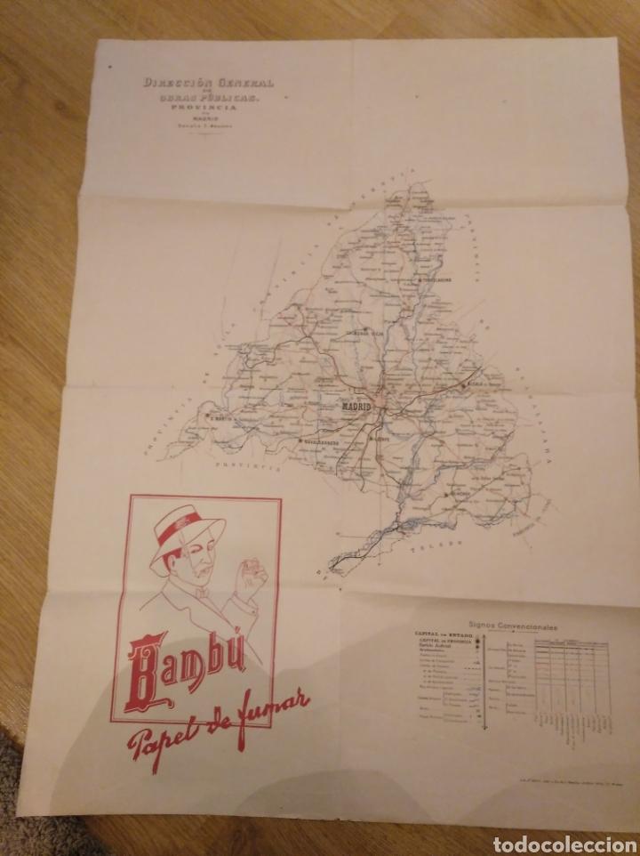MAPA DE MADRID. BAMBÚ PAPEL DE FUMAR. ESCALA 1:400.000. LIT J. ISERN Y J. MÉNDEZ. 50 X 70 CMS (Coleccionismo - Mapas - Mapas actuales (desde siglo XIX))
