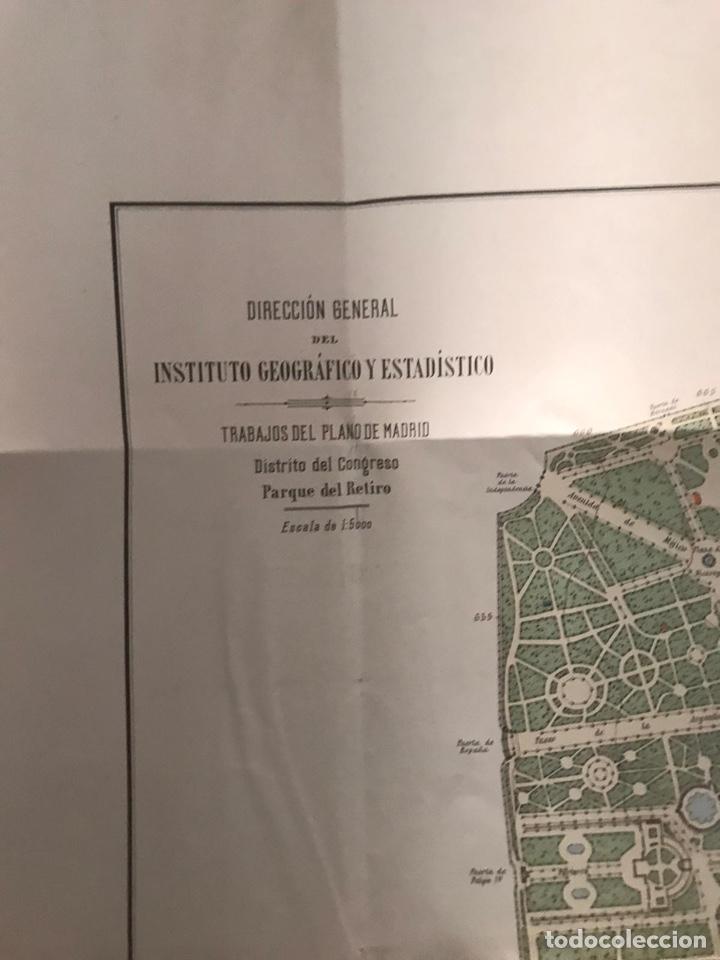 Mapas contemporáneos: Plano del Parque del Retiro. 1919 - Talleres del Instituto Geográfico. - Foto 3 - 194318707