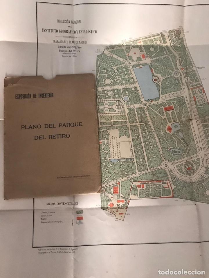 PLANO DEL PARQUE DEL RETIRO. 1919 - TALLERES DEL INSTITUTO GEOGRÁFICO. (Coleccionismo - Mapas - Mapas actuales (desde siglo XIX))
