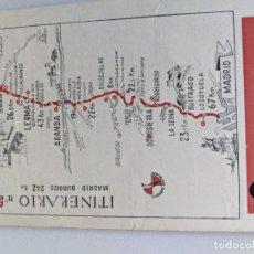 Mapas contemporáneos: ITINERARIO GRAFICOS ROGLAN - SPIDOLEINE - FICHA 50 - MADRID BURGOS. Lote 194507832