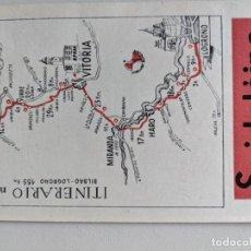 Mapas contemporáneos: ITINERARIO GRAFICOS ROGLAN - SPIDOLEINE - FICHA 58 - BILBAO - LOGROÑO. Lote 194508213