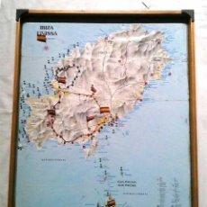 Mapas contemporáneos: MAPA CARTA NAVAL IBIZA CON MARCO VITRINA SIN CRISTAL. MED. 50 X 6 X 70 CM. Lote 194599203