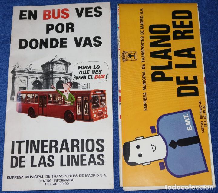 EMT - PLANO DE LA RED (1982) - GUÍA DE ITINERARIOS (1983) (Coleccionismo - Mapas - Mapas actuales (desde siglo XIX))