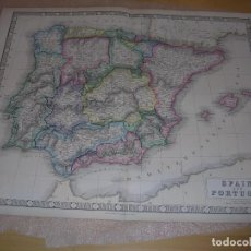 Mapas contemporáneos: MAP OF SPAIN AND PORTUGAL 1860. Lote 195121631