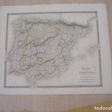 Mapas contemporáneos: MAP OF SPAIN AND PORTUGAL 1822. Lote 195124177