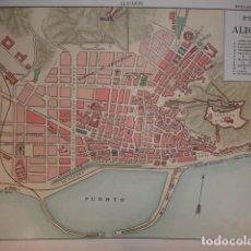 Mappe contemporanee: ALICANTE PLANO DE LA CIUDAD .28X20 .1854. Lote 195278520