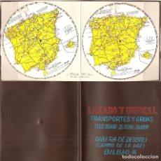 Mapas contemporáneos: BONITO MAPA CALCULADOR DISTANCIAS KILOMÉTRICAS, REGISTRO DE 1958, PUBLICIDAD LÁZARO Y URIBE-BILBAO. Lote 195304312