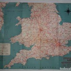 Mapas contemporáneos: ANTIGUO MAPA INGLATERRA REINO UNIDO PUBLICIDAD BARTON TRANS ROBIN HOOD ROAD CRUISES EXPRESS SERVICES. Lote 195443368