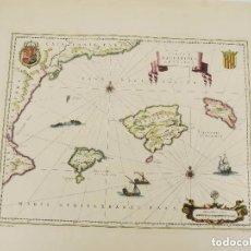 Mapas contemporáneos: MAPA ISLAS BALEARES. INSULAE BALEARIDES ET PYTIUSAE. WILLEM JANSZOON BLAEU. 54X80.. COLOREADO A MANO. Lote 195526965