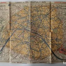 Mapas contemporâneos: PARIS - PLANO FERROCARRIL METROPOLITANO, MEDIDAS 38 X 30 CM. Lote 198205861