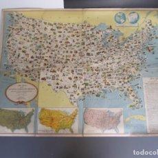 Mapas contemporáneos: MAPA PICTORICO DE LOS ESTADOS UNIDOS DE AMERICA -AÑOS 50. Lote 199954442