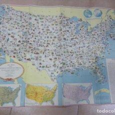 Mapas contemporáneos: MAPA PICTORICO DE LOS ESTADOS UNIDOS AÑOS 50. Lote 200323616