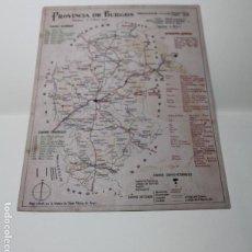 Mapas contemporáneos: MAPA PROVINCIA BURGOS 1944. FABRICA DE NAIPES HIJA B. FOURNIER. LITOGRAFIA. CALENDARIO. VER FOTOS.. Lote 200527843