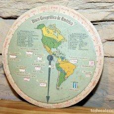 Cartes géographiques contemporaines: DISCO GEOGRAFICO DE AMERICA - PROMOCIONAL HOJAS Y MAQUINAS BETER - CIRCA 1925. Lote 201333766