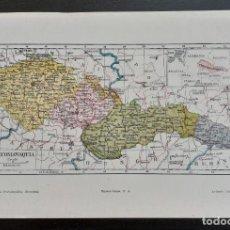Mapas contemporáneos: MAPA DE CHECOSLOVAQUIA - CHEQUIA - ESLOVAQUIA - EUROPA - MAPA LITOGRÁFICO EN COLORES - 24 X 16 CM.. Lote 203812420