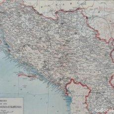 Mapas contemporáneos: MAPA DEL REINO DE LOS SERBIOS, CROATAS Y ESLOVENOS - MAPA LITOGRÁFICO - 24 X 28.5 CM. - CA. 1930. Lote 203816742