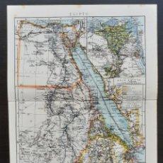 Mapas contemporáneos: MAPA DE EGIPTO - EL NILO - AFRICA - MAPA LITOGRÁFICO EN COLORES - 24 X 28.5 CM. - CIRCA 1930. Lote 203820771