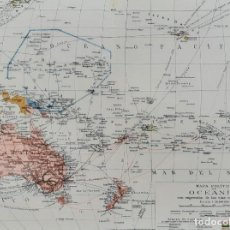 Mapas contemporáneos: MAPA POLÍTICO DE OCEANÍA - AUSTRALIA, NUEVA ZELANDA, FILIPINAS - 24 X 28.5 CM. - CIRCA 1930. Lote 203826161