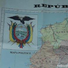 Mapas contemporáneos: GRAN MAPA POLÍTICO REPÚBLICA DEL ECUADOR AÑO 1990. Lote 204174477