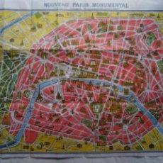 Mapas contemporáneos: ANTIGUO MAPA DE PARIS, DISTRICTOS Y MONUMENTOS. ED. A. LECONTE. AÑOS 20.. Lote 204316080
