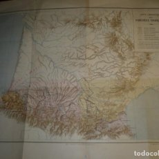 Mapas contemporáneos: CARTE LINGUISTIQUE DES PYRENEES FRANÇAISES GRAVE PAR ERHARD PARIS 47 CM X 37 CM. Lote 205073952