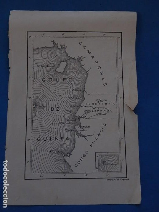 PLANO O MAPA GOLFO DE GUINEA. TERRITORIO ESPAÑOL. (Coleccionismo - Mapas - Mapas actuales (desde siglo XIX))
