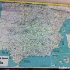 Mapas contemporáneos: GUÍA - MAPA DE ESPAÑA DE LA CASA PRODUCTOS ROCHE (1967), PARA EL AMANTE DE LA CAZA Y LA PESCA. Lote 54320345