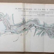 Mapas contemporáneos: PLANO GENERAL DE LA RIA Y ABRA DE BILBAO. AÑO 1908. Lote 206130623