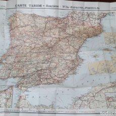 Mapas contemporáneos: CARTE TARIDE 34. ESPAGNE ET LE PORTUGAL. ANTIGUO MAPA DE CARRETERAS.. Lote 206574232
