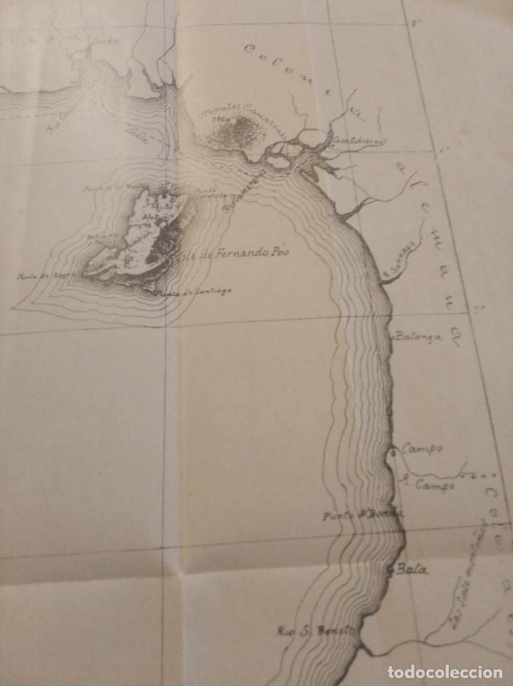 Mapas contemporáneos: CROQUIS DE LAS POSESIONES ESPAÑOLAS DEL GOLFO DE GUINEA ( Aprox 1907) (48 cmsx35,5 cms) - Foto 2 - 206829562