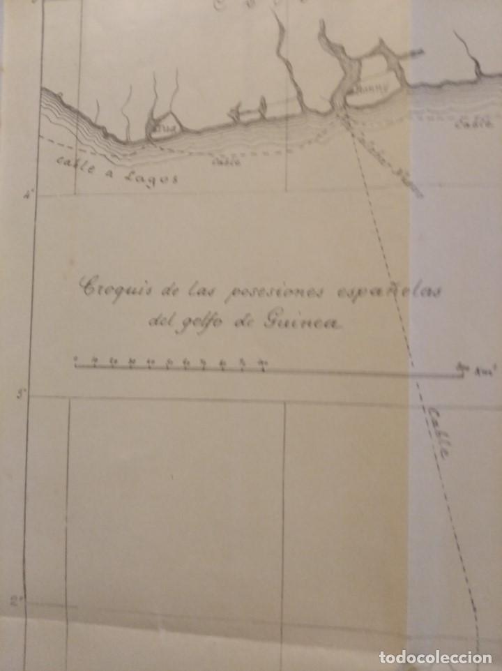 Mapas contemporáneos: CROQUIS DE LAS POSESIONES ESPAÑOLAS DEL GOLFO DE GUINEA ( Aprox 1907) (48 cmsx35,5 cms) - Foto 4 - 206829562