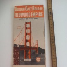 Mapas contemporáneos: GOLDEN GATE BRIDGE REDWOOD EMPIRE. CENTERING THE PACIFIC COAST. MAPA ANTIGUO AÑOS 50, DE CARRETERAS. Lote 207281631
