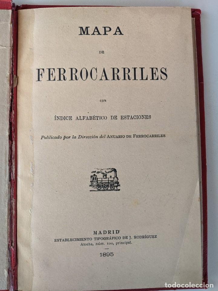 Mapas contemporáneos: 1895 MAPA DE FERROCARRILES E INDICE ALFABETICO ESTACIONES - TIPOGRAFIA DE J.RODRIGUEZ DE MADRID - Foto 3 - 211403286