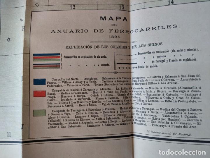 Mapas contemporáneos: 1895 MAPA DE FERROCARRILES E INDICE ALFABETICO ESTACIONES - TIPOGRAFIA DE J.RODRIGUEZ DE MADRID - Foto 7 - 211403286