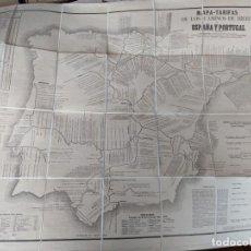 Mapas contemporáneos: 1867 RARISIMO MAPA-TARIFAS CAMINOS DE HIERRO ESPAÑA Y PORTUGAL GRAN TAMAÑO EN TELA. Lote 211403675