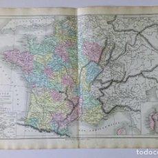 Mapas contemporáneos: 1876 MAPA DE FRANCIA DIVISIÓN EN 32 DEPARTAMENTOS POR - M.M. DRIOUX Y CH. LEROY GRABADO POR JENOTTE. Lote 211404807