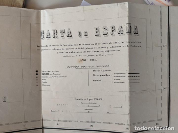 Mapas contemporáneos: 1881 CARTA MAPA DE LOS FERROCARRILERS DE ESPAÑA - DIRECCION DE OBRAS PUBLICAS - Foto 2 - 211405520
