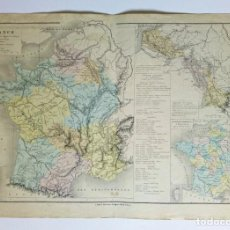 Mapas contemporáneos: 1876 MAPA AGRÍCOLA DE FRANCIA, CULTIVOS, PRODUCTOS POR - M.M. DRIOUX Y CH. LEROY GRABADO POR JENOTTE. Lote 211411620