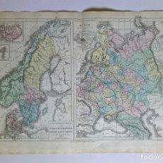 Mapas contemporáneos: 1876 MAPA FÍSICO Y POLÍTICO PAÍSES ESCANDINAVOS Y RUSIA M.M. DRIOUX Y CH. LEROY GRABADO POR JENOTTE. Lote 211412147