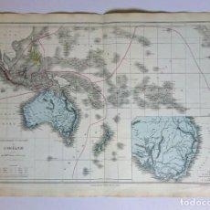 Mapas contemporáneos: 1876 MAPA FÍSICO Y POLÍTICO DE OCEANÍA AUSTRALIA ORIENTAL M.M DRIOUX Y CH. LEROY GRABADO POR JENOTTE. Lote 211414380
