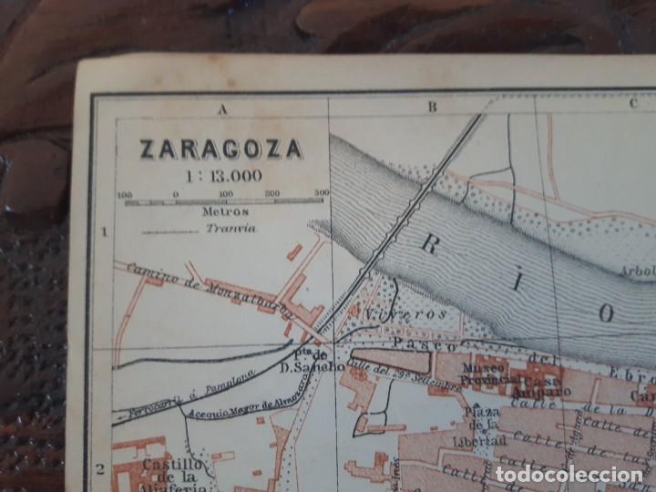 Mapas contemporáneos: Detallado Mapa Plano Original antiguo 1908 de Zaragoza Rio Ebro Aragón - Foto 2 - 211874943